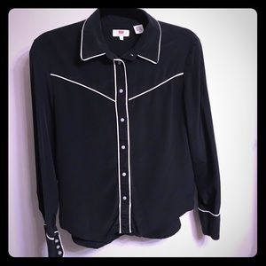 Levi's Pajama-Inspired Black and White Blouse